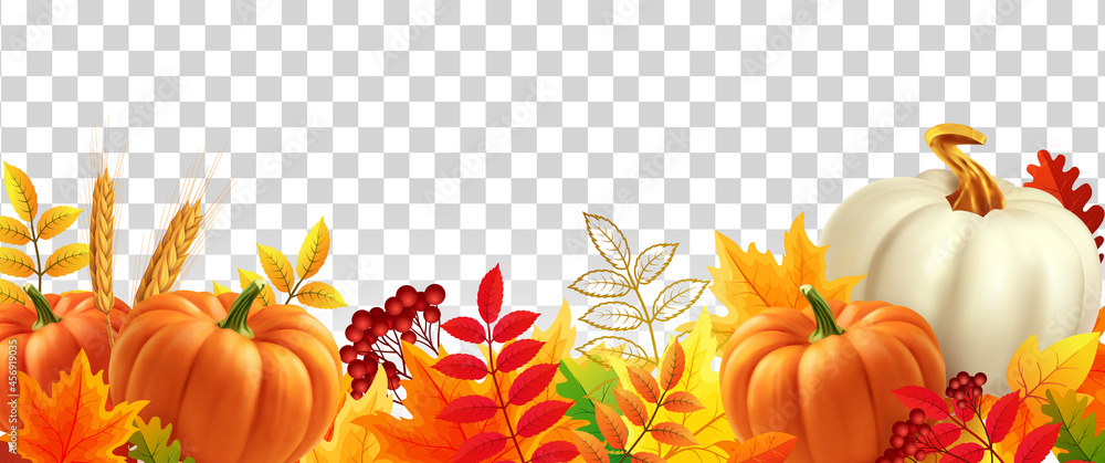 Wall mural White and yellow pumpkins, orange leaves on transparent background. Autumn festival invitation. Border from autumn leaves and pumpkins. Postcard or banner. 3d realistic vector illustration.