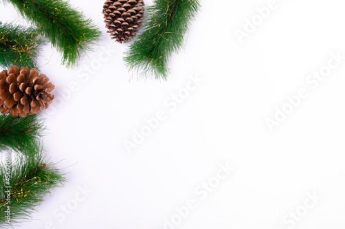 Composition of fir tree branches with pine cones and copy space on white background