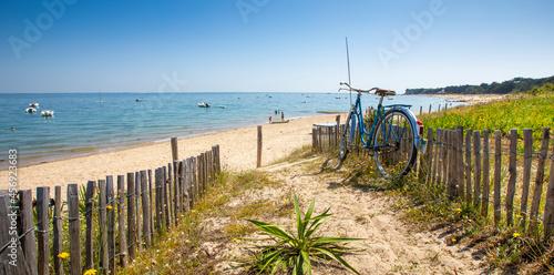 Fototapeta Vieux vélo bleu en bord de mer dans les dunes du littoral français