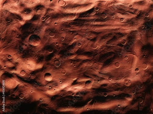 Canvastavla Surface of Mars with craters, impact craters on the surface of the red planet