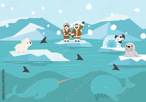 Fotografie, Obraz Cartoon North pole Arctic landscape background