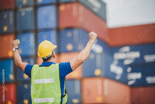 Fotografering foreman or engineer are work in container shipping industry warehouse, logistic