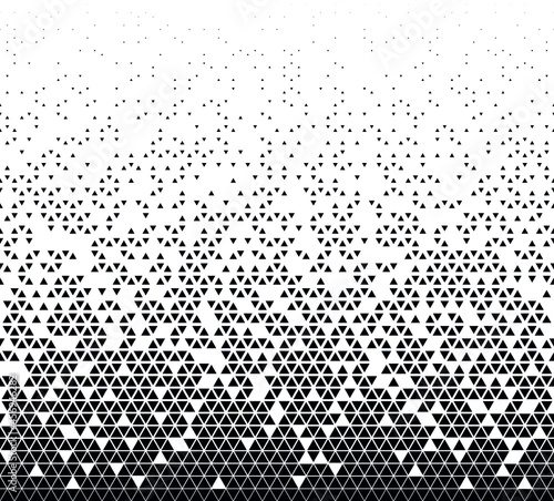 Photo Halftone vector background. Filled with black triangles .