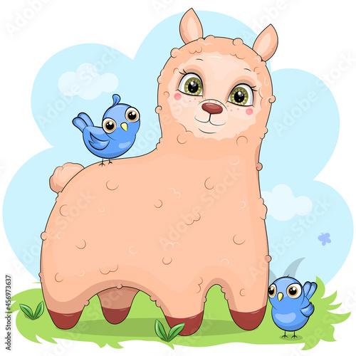 Fototapeta premium Cute cartoon llama with blue birds. Vector illustration of an animal in nature.