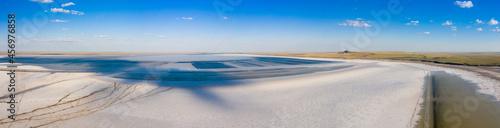 Fototapeta Beautiful view, wildlife and industrial landscape at Salt lake Baskunchak, Astrakhan region Russia