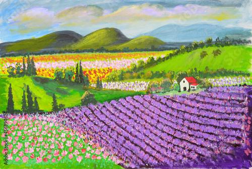 Canvastavla Lavender fields on a hillside