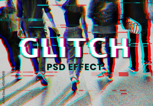 Anaglyph Glitch Effect with Group of Friends