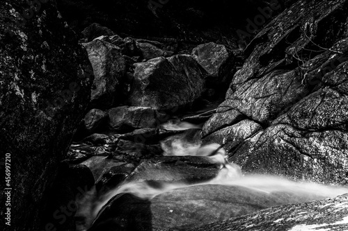 Canvas Print Abstract photograph of river following its course in black and white