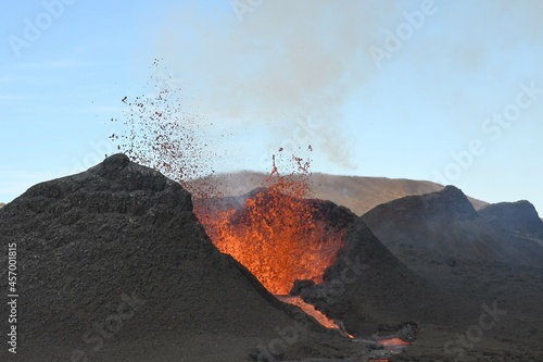 Canvas Print Volcanic vent at Fagradalsfjall, Iceland, erupting incandescent orange and red lava