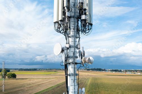 Antenna cellular 4g, 5g against the blue sky, close-up Fototapet