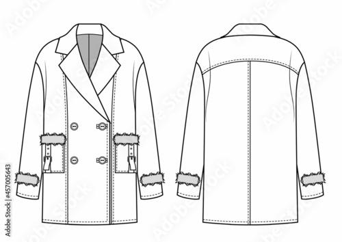 Fényképezés Womens Aviator Jacket Coat with fur pockets