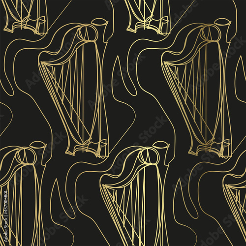 Canvas Print harp sketch vector illustration isolated design element isolated