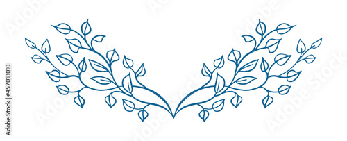 Tela leaves and branches in vine pattern; underline design element in elegant fancy branches silhouette, decorative symmetrical ivy vines for use in border designs or wedding invites or other designs