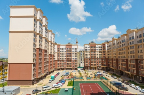 Obraz na plátně City courtyard or street with cars and playgrounds for children and walks