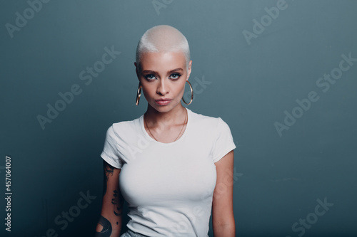 Obraz na plátně Millenial young woman with short blonde hair and big boobs tits portrait