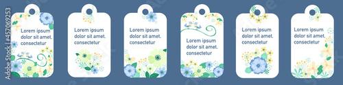 Obraz na plátně Vector set of floral vertical tags