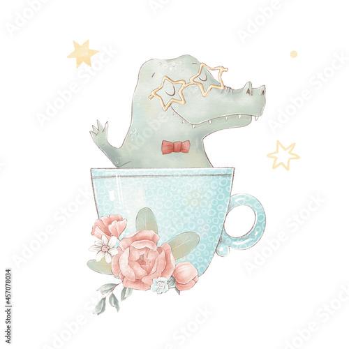 Fototapeta premium Set of cute cartoon crocodile in a cup. Watercolor illustration