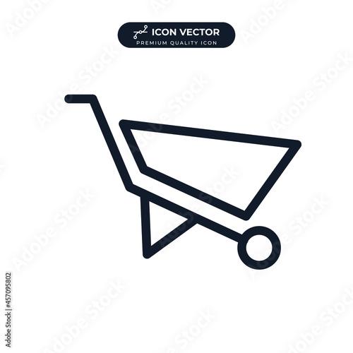 Cuadros en Lienzo Handcart or Wheelbarrow icon symbol template for graphic and web design collecti