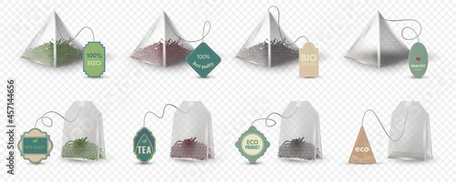 Fotografiet Realistic pyramid and rectangular green, red and black tea bags with tags