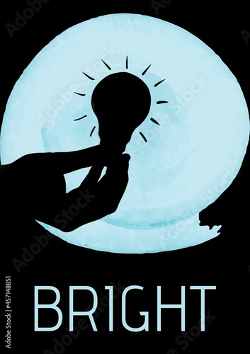 Bright text with hand holding a light bulb over round blue banner against black background