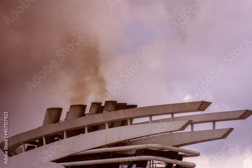 Fototapeta smoke on the ship roof