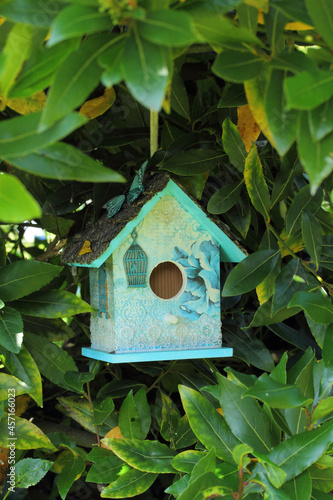 Beautifully painted birdhouse in the green foliage Fotobehang