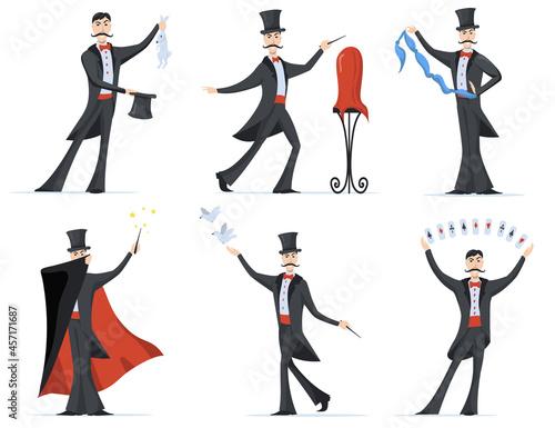 Fotografering Stylish magician showing magic tricks flat set for web design