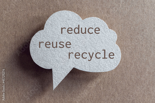 Reduce reuse recycle words printed on speech bubble