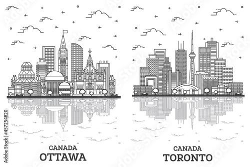 Fototapeta premium Outline Toronto and Ottawa Canada City Skyline Set.