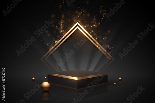 Obraz na plátně Black and gold podium with light effect
