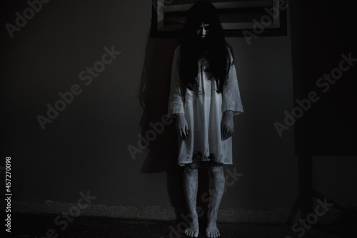 Canvas Woman ghost horror face her standing looking eyes, halloween concept