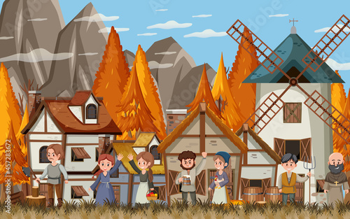 Stampa su Tela Medieval town scene with villagers
