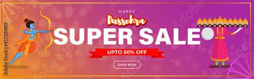 Canvas Print Vector illustration of Dussehra Big Sale banner, up to 50% off, Indian festival