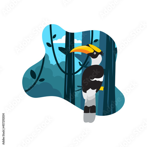 Fototapeta premium Bird colorful flat illustration with nature background, in landing page style