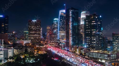 Canvastavla Los Angeles downtown at night, modern city at night