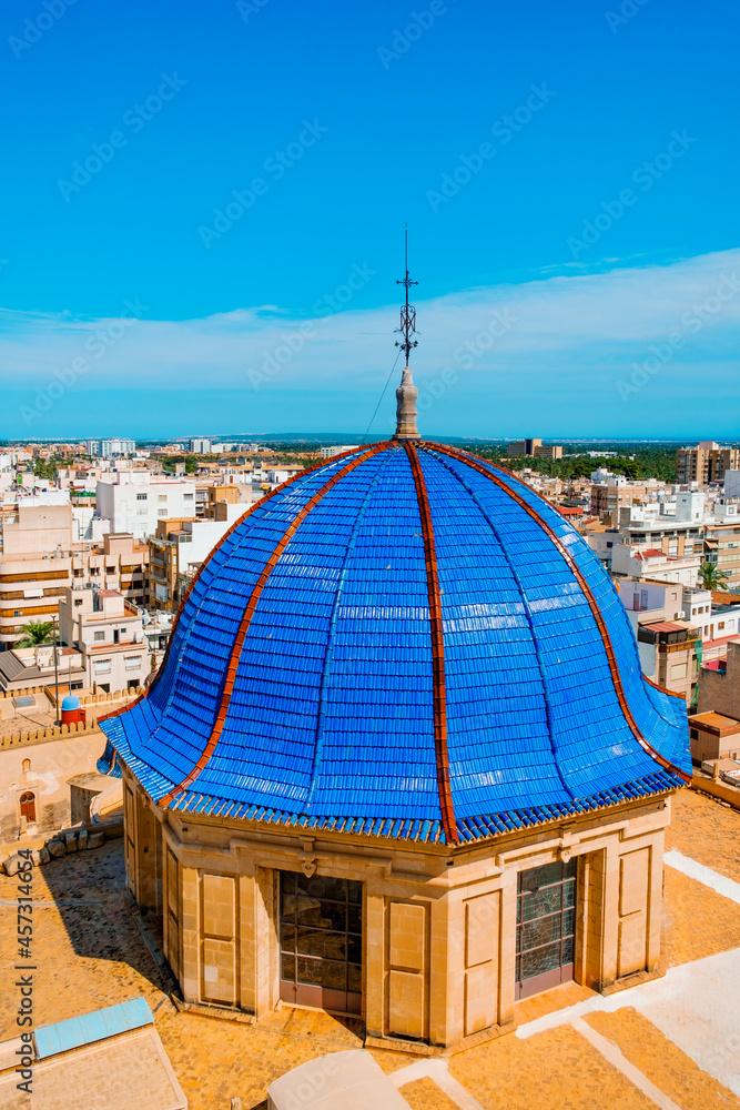 blue dome of Basilica of Santa Maria, Elche, Spain