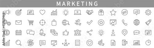 Foto Marketing line icons set