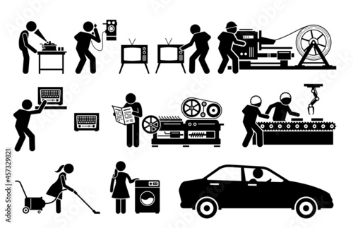 Modern History Machine Age Technologies. Vector illustrations depict phonograph record player, old telephone, TV, metal roller machine, high speed printing presses, radio, and factory assembly line.