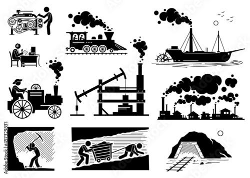 Obraz na plátně Modern History Industrial Age or Industrial Revolution Technology Development