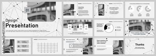 Obraz na plátně Set of vector slides for presentations and reports