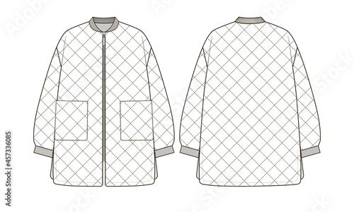 Fotografia Fashion technical drawing of oversized quilted bomber jacket