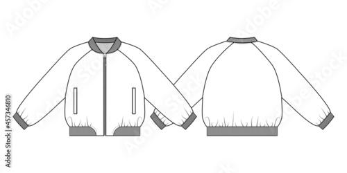 Fotografija Fashion technical drawing of short oversized bomber jacket