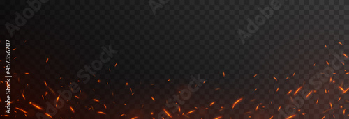 Photo Vector fiery sparks on an isolated transparent background