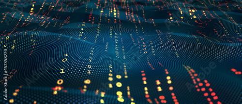 Stampa su Tela Terabytes of binary code data flying in a stream of information