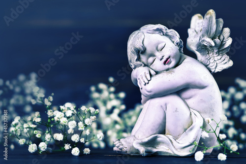 Fotografia Sympathy card with sleeping angel and white flowers