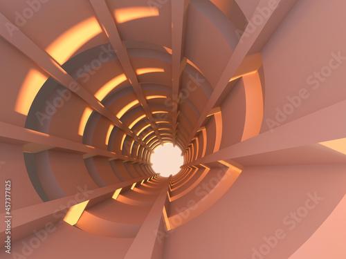 Stampa su Tela Abstract spiral ramp interior background, 3 d