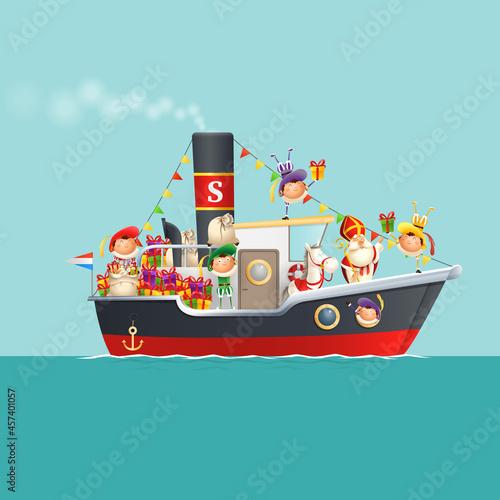 Fototapeta Sinterklaas is coming to town with kids on steamboat - celebration Sinterklaas d