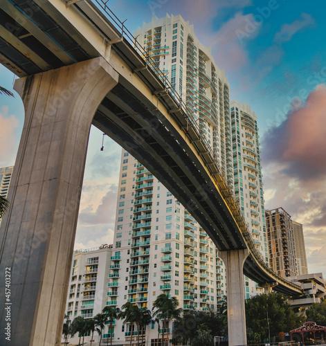 Fototapeta premium city bridge city metro rail buildings Brickell Miami Florida usa sky