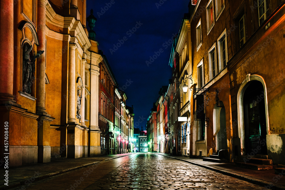 old historical part of Warsaw  of night lights