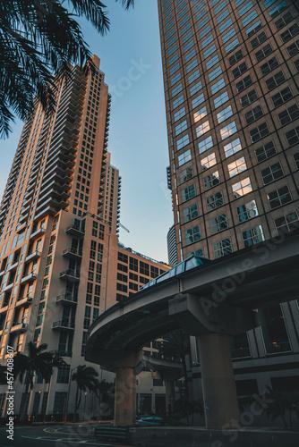Fototapeta premium downtown city metro rail buildings reflections Miami Florida usa
